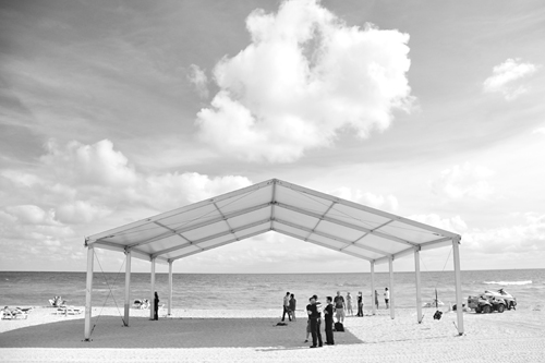 Wedding ceremony tent, Miami Beach.