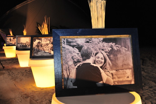 Framed pictures on lighted pots. Miami Beach Wedding Reception.