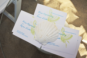 Ceremony programs, beach wedding on Miami Beach, Butterflies and shells.