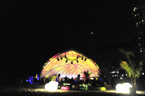 Reception tent on Miami Beach. Pringle tent, lights.