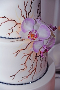 Branches painted on white, three-tiered wedding cake. White orchids on side.