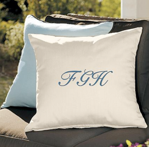 Turquoise blue Monogrammed cushion or throw pillow