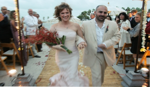 Bride and Groom at Miami beach wedding.
