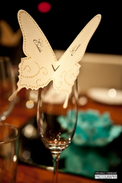 White Butterfly Place Card at Miami Wedding Reception