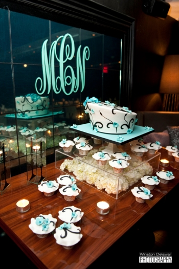 monogram, wedding cake, and cupcakes at Miami reception