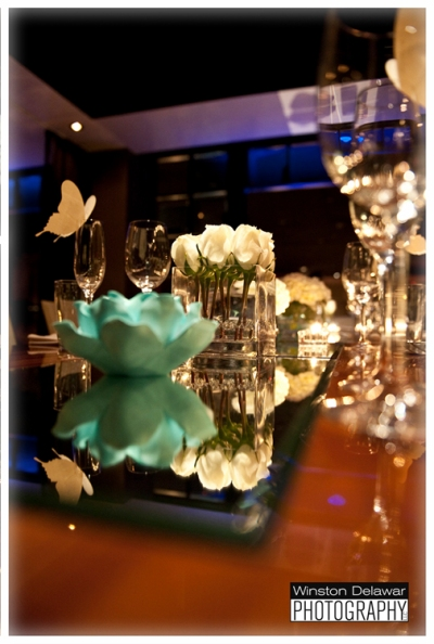 Aqua Flower Candleholders Roses on Miami Reception Table